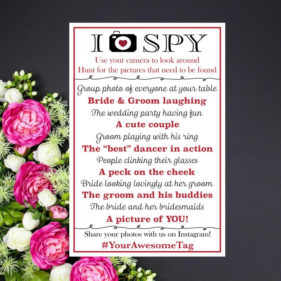 I Spy Wedding Custom Printable With Your Hashtag Colors Photo Treasure Hunt Personalized Reception Table