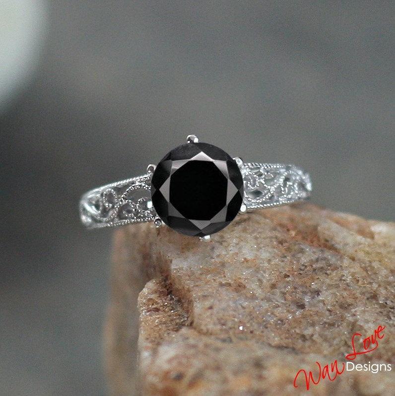 Mariage - Black Spinel Filigree Milgrain Solitaire Engagement Ring 2ct 8mm 14k 18k White Yellow Rose Gold-Platinum-Custom-Wedding-Anniversary-Round