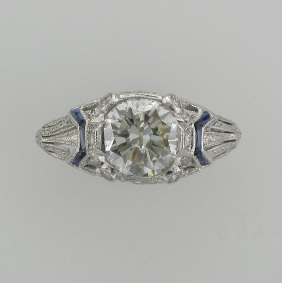 Wedding - Art Deco Filigree Diamond Engagement/Wedding/Cocktail  Ring with Accent Sapphires in 18 Karat White Gold