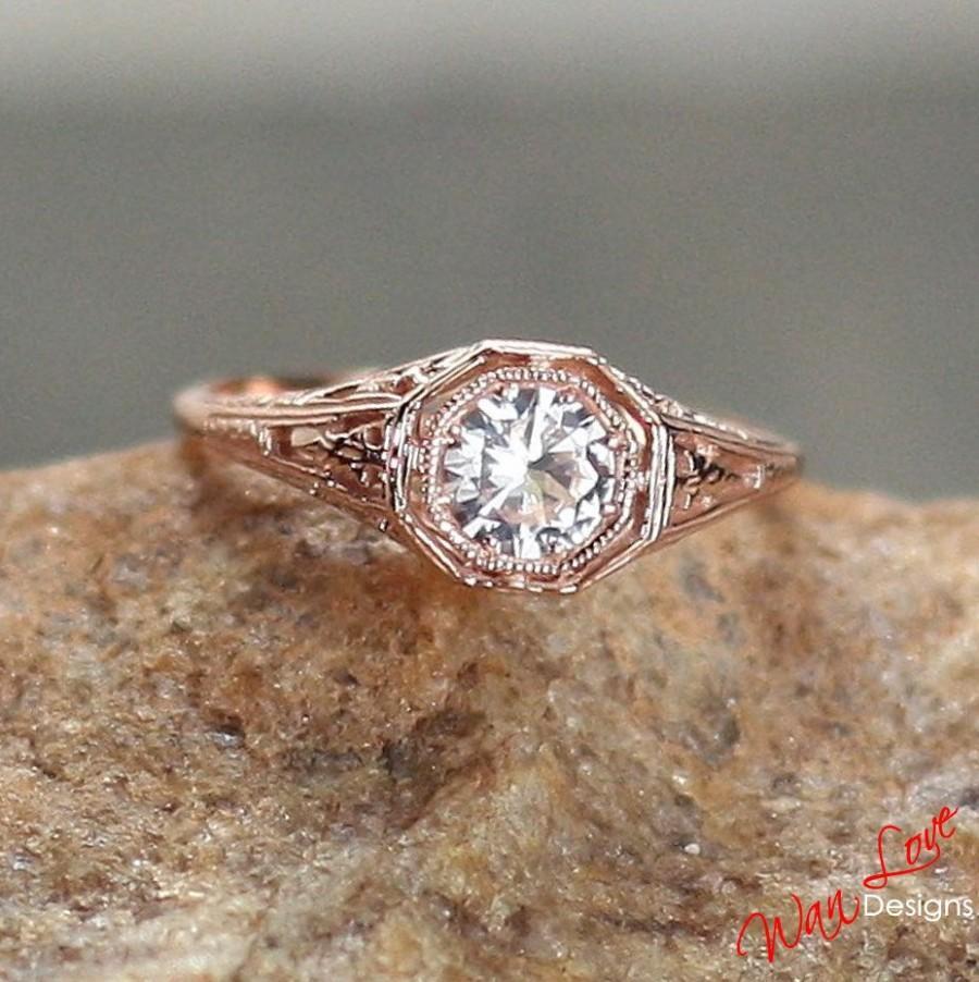 Moissanite Solitaire Antique Round Filigree Engagement Ring
