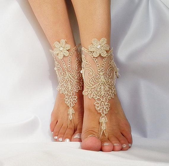 Mariage - Burlap rustic gold Barefoot Sandals french lace Nude shoes yoga anklet bangle zen boho bohemian modern nude shoe one finger shoe
