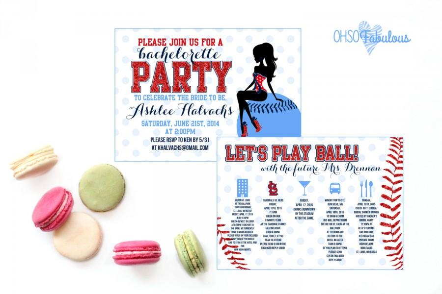 Baseball Glitter Girl Bridal Shower Bachelorette Party – Bridal Shower and Bachelorette Party Invitations