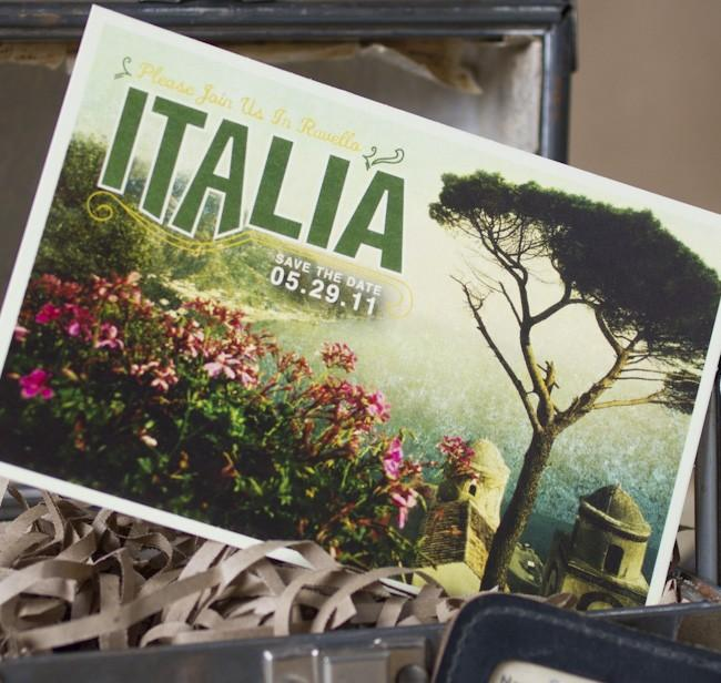 Mariage - Vintage Travel Postcard Save the Date (Italy) - Design Fee