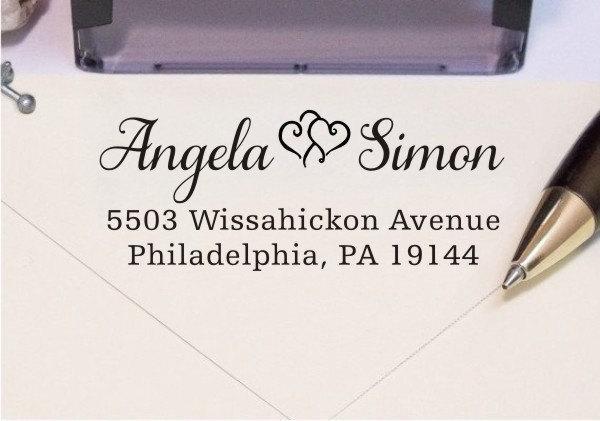 زفاف - Invitation Address Stamp - Custom Wedding Address Stamp - Two Hearts Rubber Stamp (129)