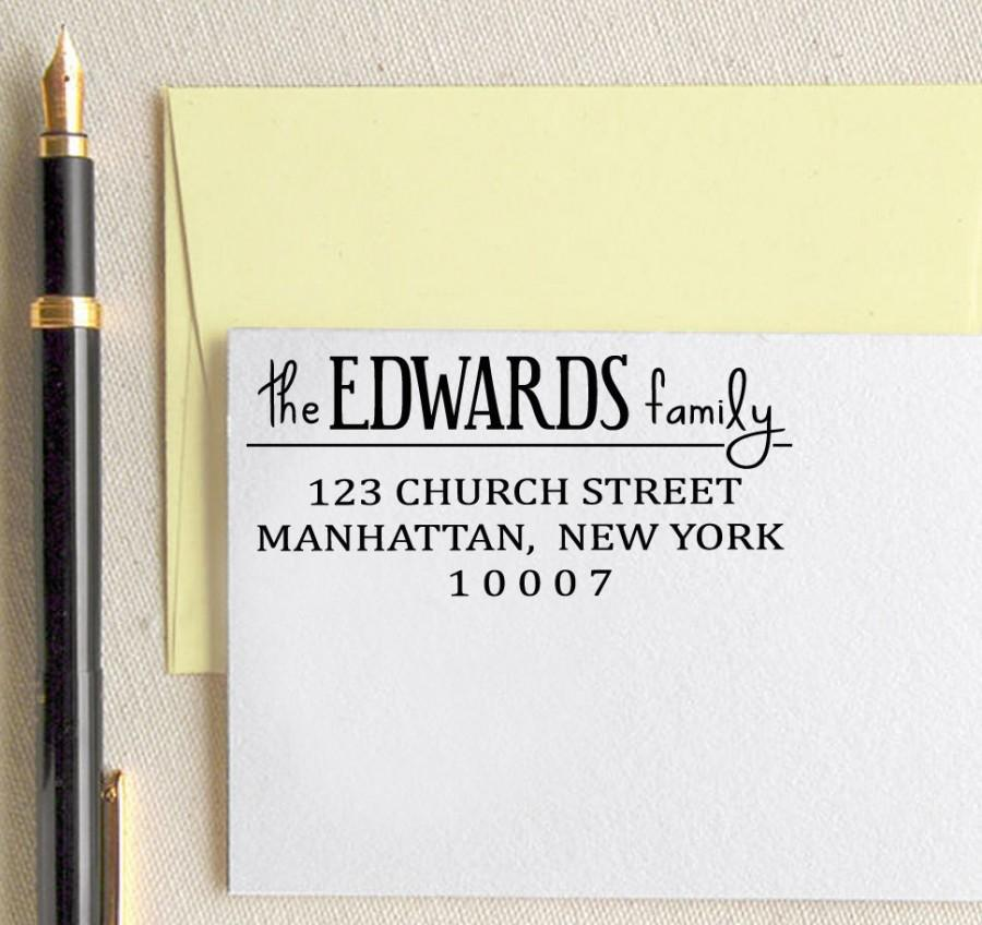 Mariage - Personalized Rubber Stamp, Custom Return Address Stamp, Self Inking Address Stamp, Custom Rubber Stamp, Custom Calligraphy Stamp HS44P