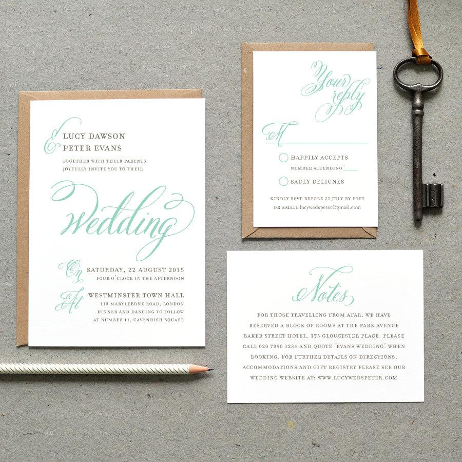 4 Printable Wedding Invitation PDF Classic Calligraphy Vintage Mint And Gray Digital File Only