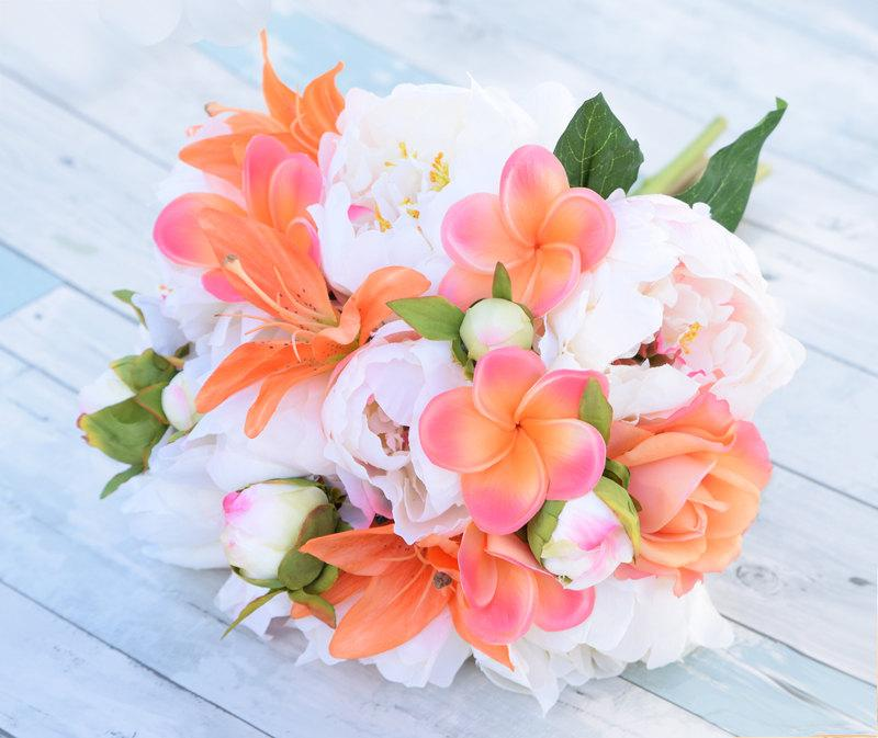 Bouquet Of Silk Blush Pink Coral Peonies Plumerias And Roses Natural Touch F