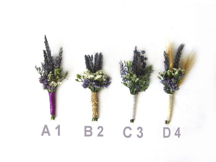 "Свадьба - Organic Dried Lavender Boutonniere - Goomsman - Gooms Bestman "" Your Choice""  One Each."