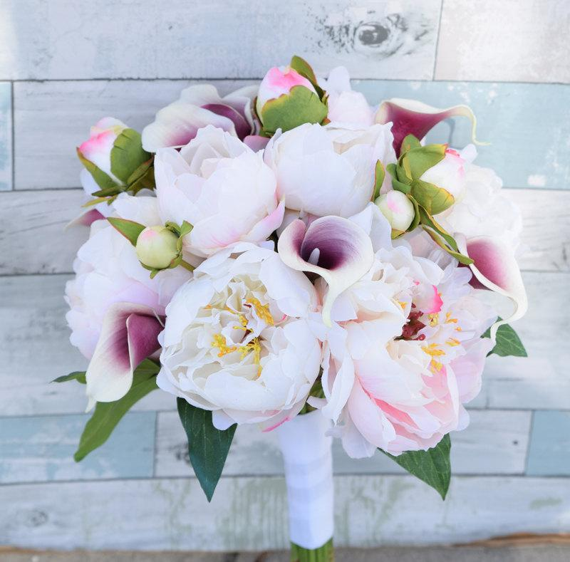 Bouquet Of Silk Blush Pink Peonies And Purple Heart Pico Natural Touch Calla Lily Flower Wedding Bride Almost Fresh