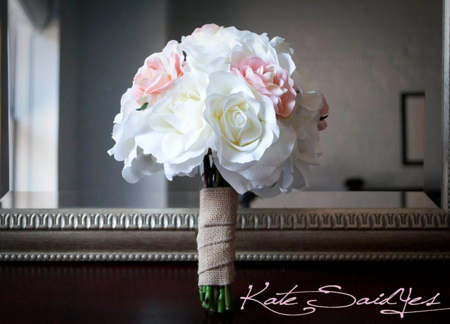 Wedding - Wedding Bouquet White and Pink Burlap Rose Silk Wedding Bouquet Rustic Shabby Chic Bridal Bouquet
