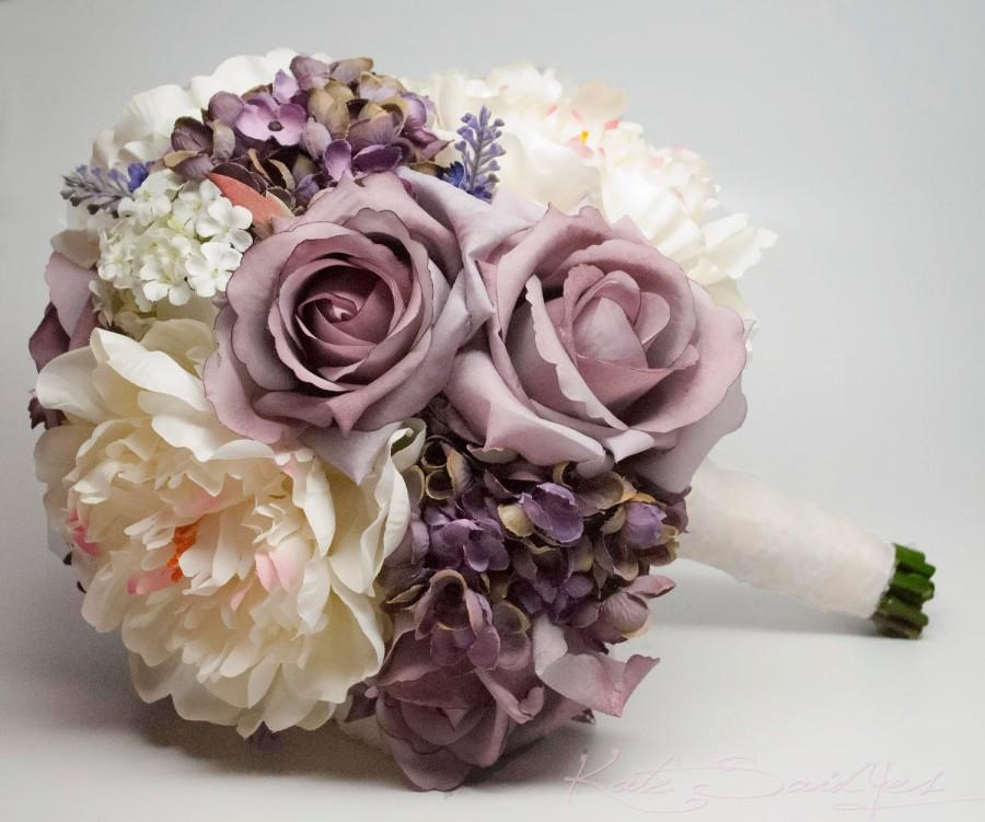 Lavender Rose Gypsophila Bridal Bouquet: Lavender Rose Hydrangea And Peony Shabby Chic Wedding