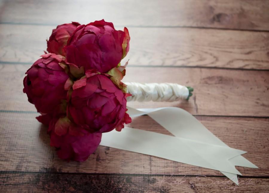 زفاف - Fuchsia Pink Peony Wedding Bouquet - Peony Bud Bouquet