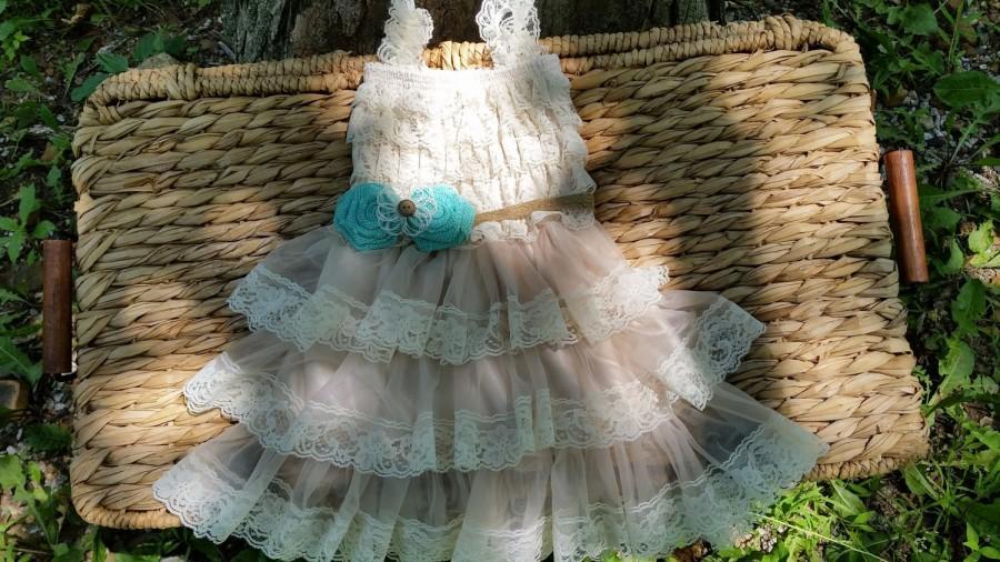 Rustic flower girl dress mint blue flower girl burlap for Country wedding flower girl dresses
