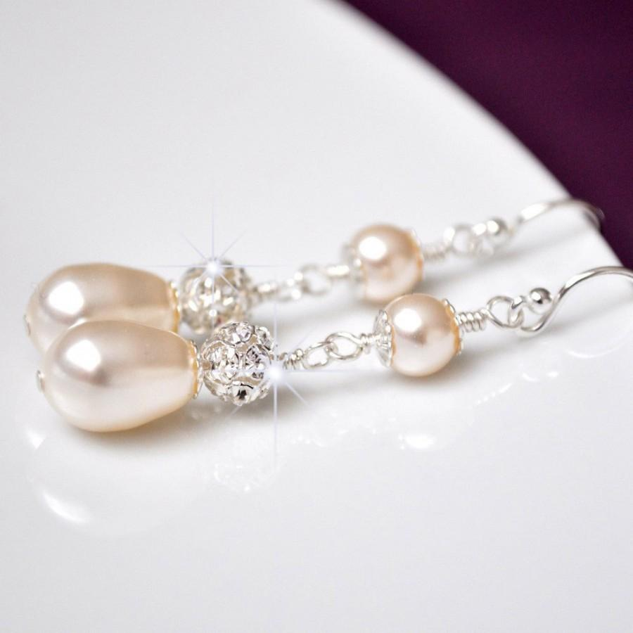 Mariage - Pearl Bridal Earrings. Rhinestone Wedding Earrings. Pearl Wedding Jewelry, Swarovski Bridal Earrings
