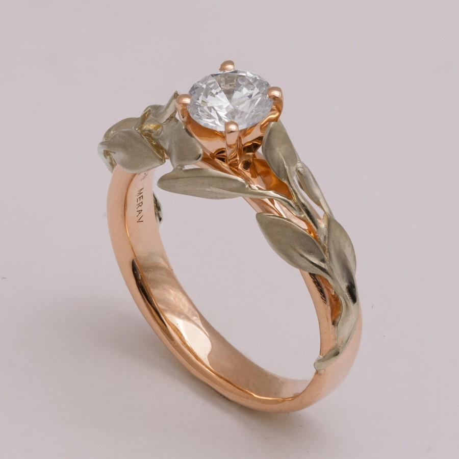 Two Tone Leaves Engagement Ring 14K White And Rose Gold Diamond Ring Uniqu
