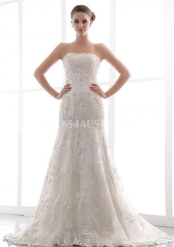 Buy australia a line strapless luxurious lace overlay A line lace wedding dress australia