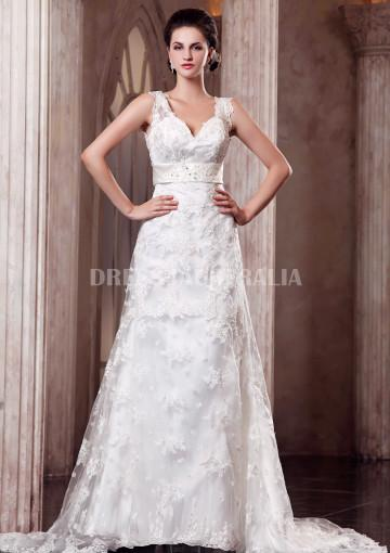 Wedding - Buy Australia Lace A-line V-neck Chapel Train Gorgeous Wedding Dresses at AU$224.41 - Dress4Australia.com.au