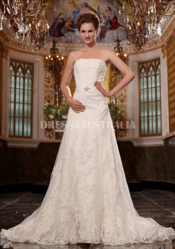 Mariage - Buy Australia Affordable A-line Strapless Lace Overlay Chapel Train Wedding Dresses at AU$235.63 - Dress4Australia.com.au