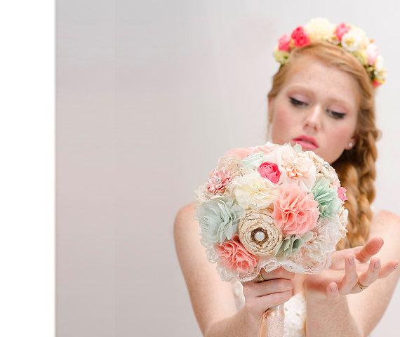 Düğün - Bridal Bouquet, wedding bouquet, fabric flowers bouquet