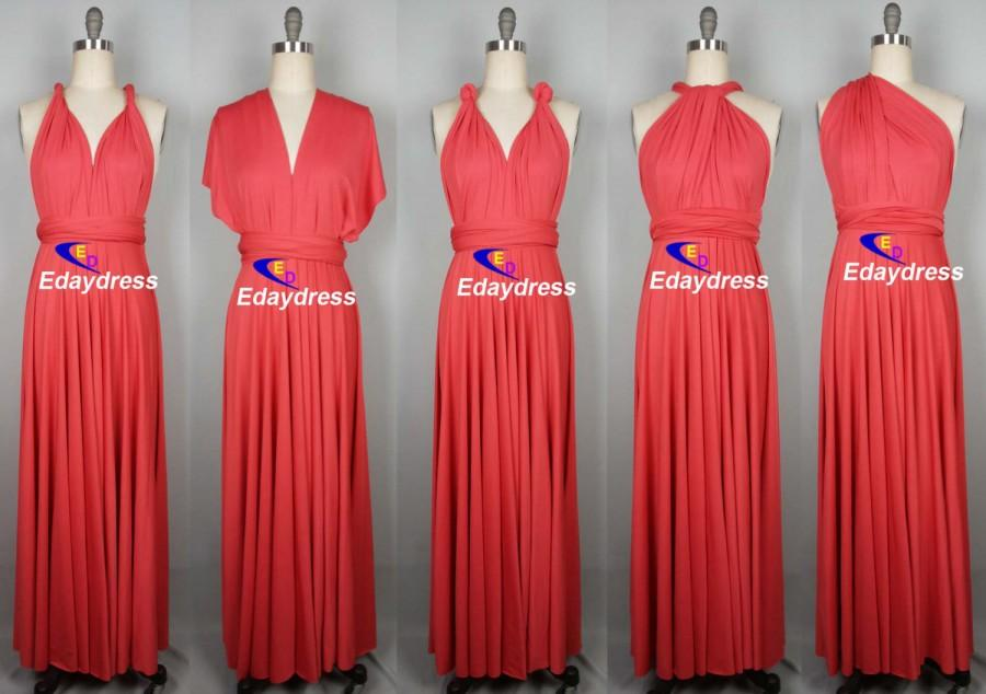 Maxi Full Length Bridesmaid Coral Infinity Dress Convertible Wrap Dress  Multiway Long Dresses 89d4f543e