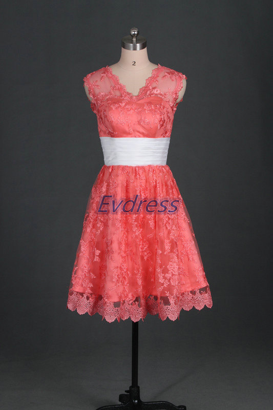 Wedding - Watermelon lace bridesmaid dress 2016, short women gowns for wedding party,cheap v-neck bridesmaid gowns with white belt.