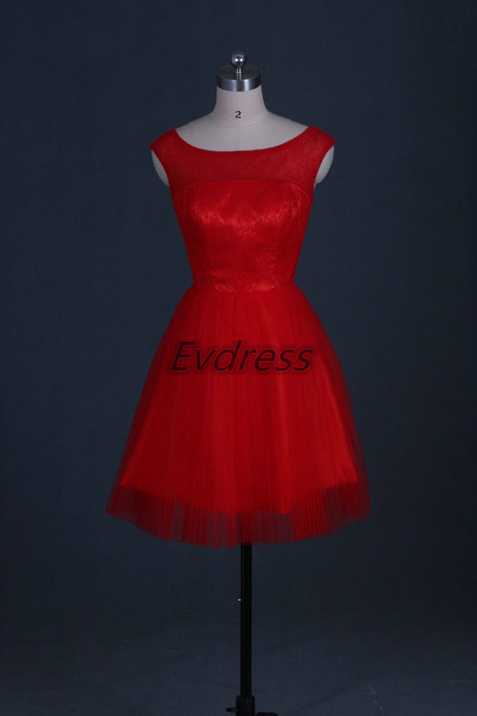 823145de4f Short Red Tulle Lace Bridesmaid Dress 2016