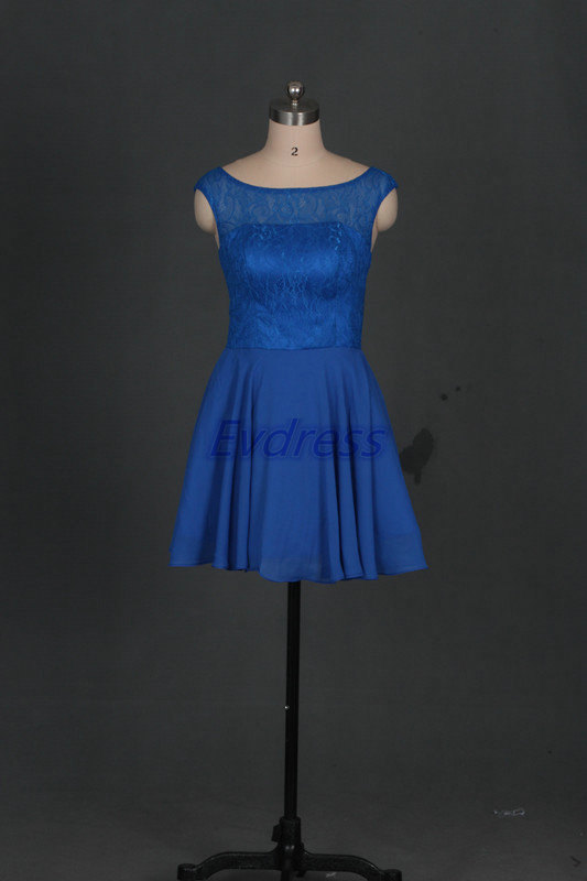 Wedding - Short royal blue chiffon bridesmaid dress 2016, cheap prom dresses under 100, cute lace women gowns for wedding party.