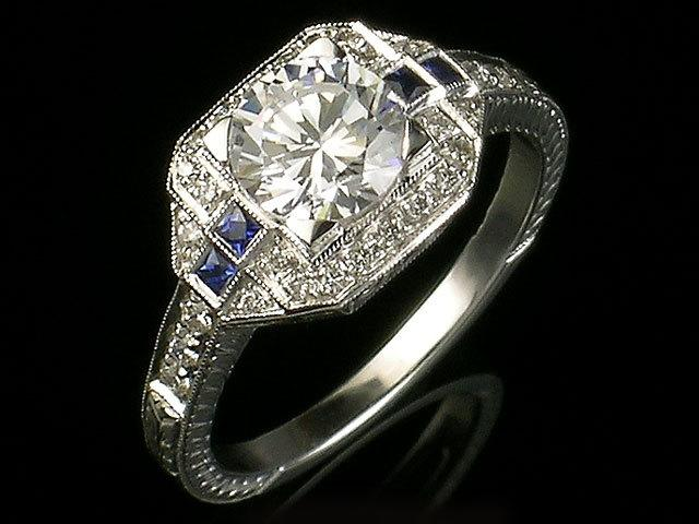 Antique Inspired Edwardian Style White Gold And Diamond And Blue Sapphire Eng