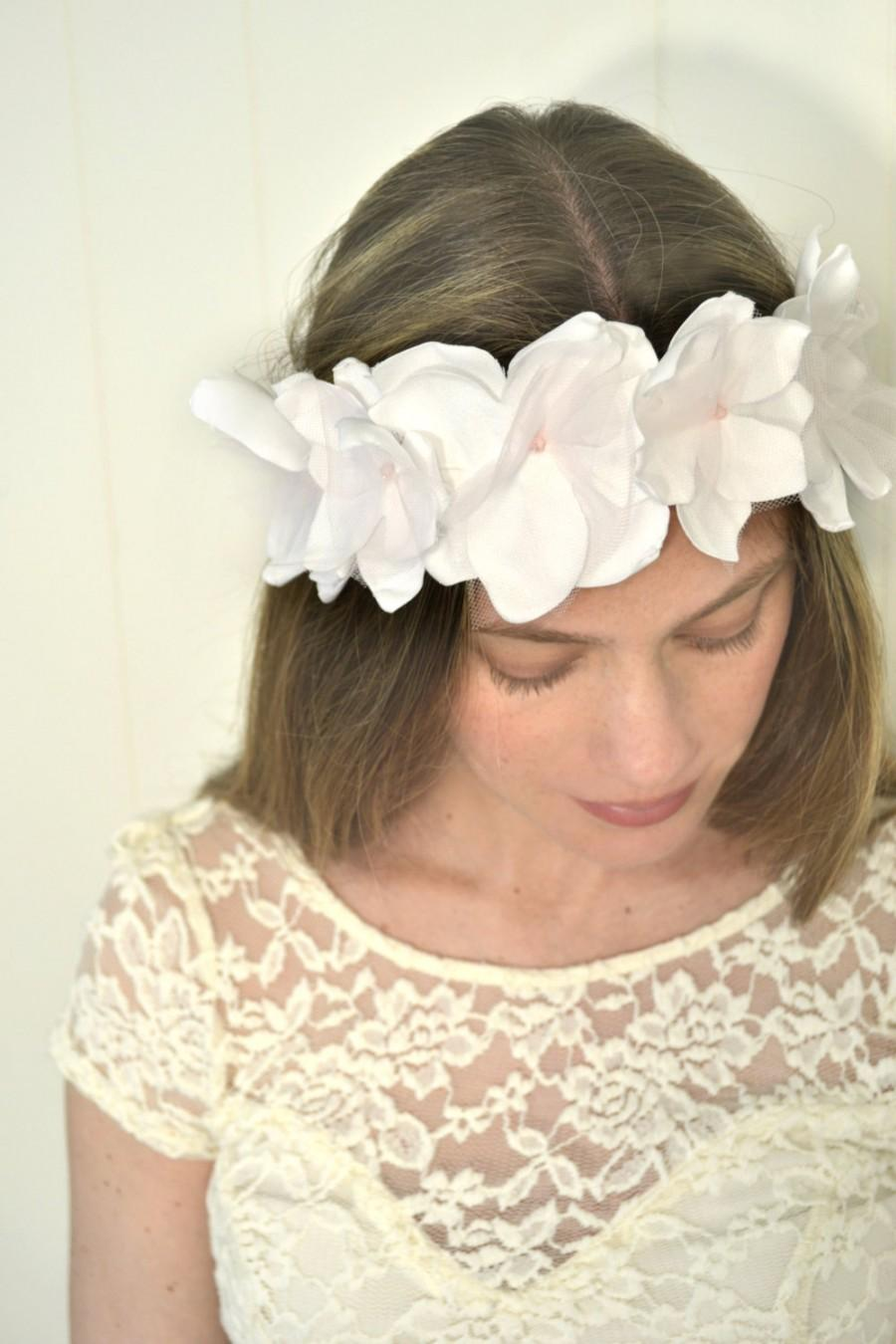 Blush Bridal Wreath White Flower Crown Blush Headpiece Floral