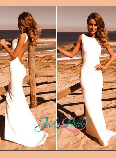 Свадьба - JDP017 Simple sheath backless wedding dress