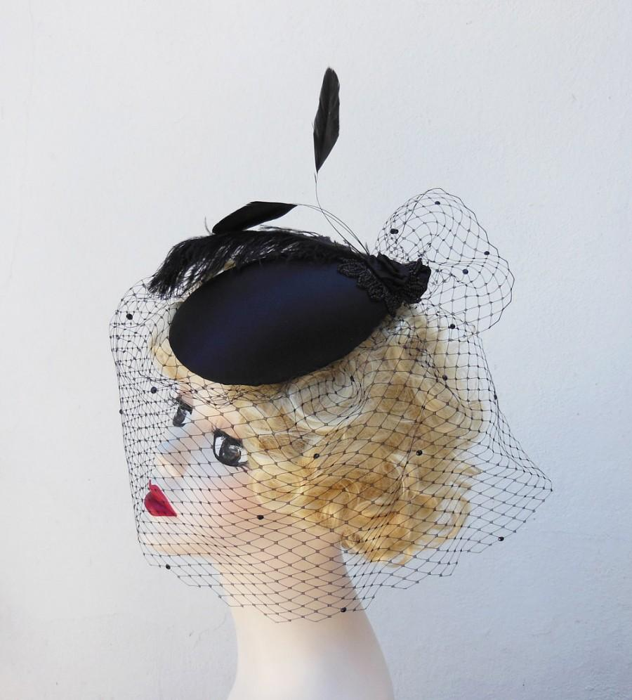 Mariage - Women's Black Hat, Feather Fascinator, Black Veil , As seen on Glee, forties style, tilted crystal half veil, Batcakes Couture