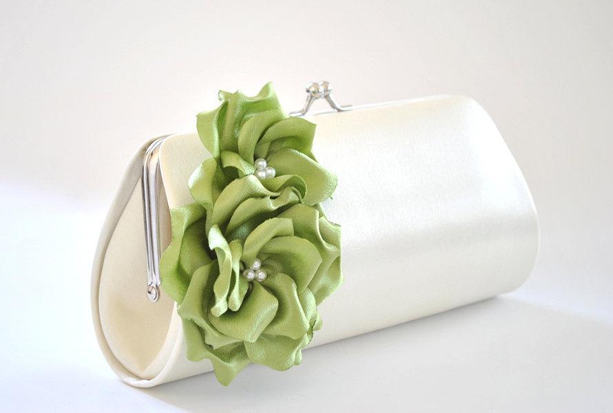 زفاف - Ivory and Chartreuse Green Clutch / Bridal clutch / Bridesmaid clutch