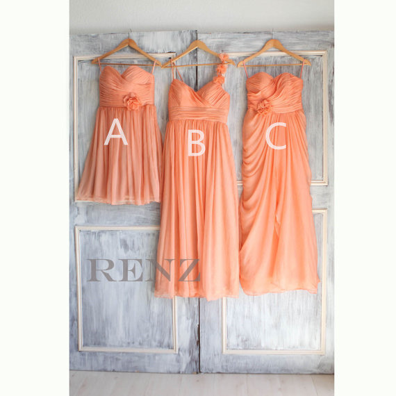 Wedding - 2015 Mismatched Peach Bridesmaid dress, Mix and Match Short Coral Wedding dress, Sweetheart Fairy Cocktail dress tea length (A017/B020/A016)