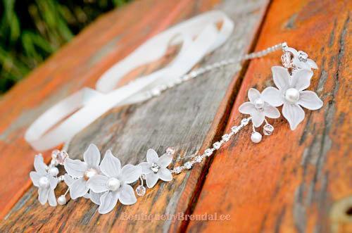 BRENDA LEE White flowers head wreath rhinestones bridal garland  crown circlet flower girl halo bridal crown woodland wedding bb0a68e683a