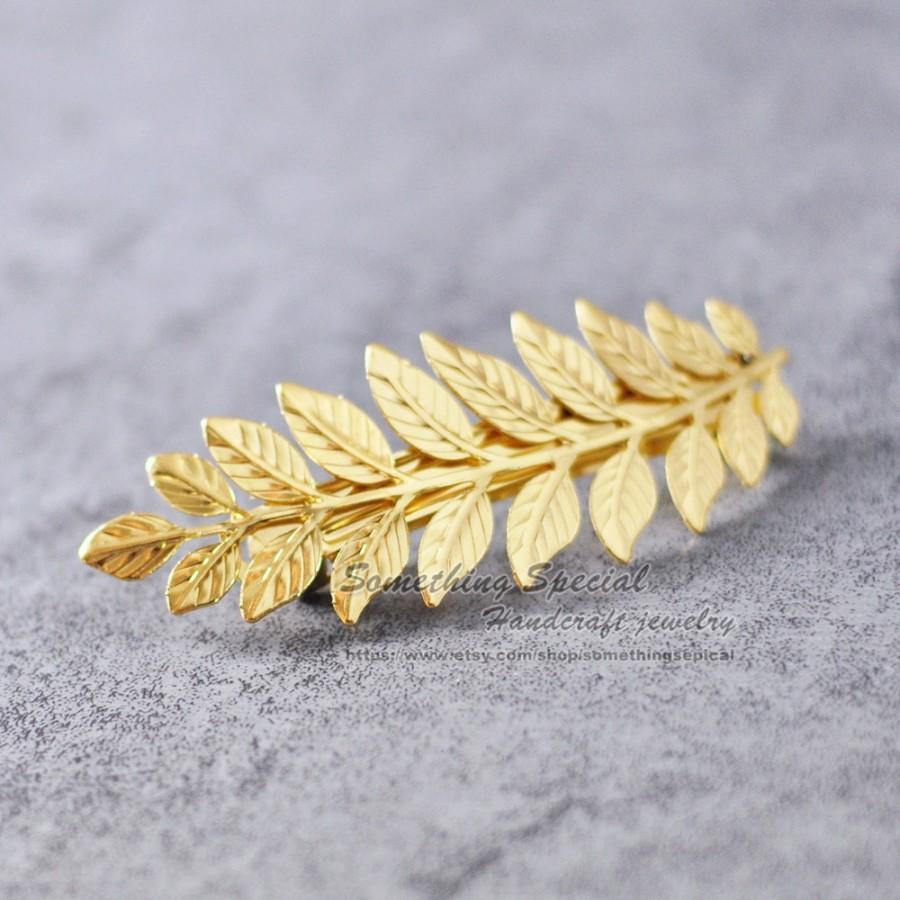 gold leaf hair barrette clip grecian branch hair clip leaves hair