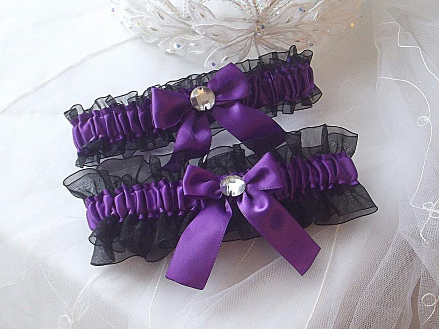 Свадьба - Wedding Garter Set - Purple with Black Sheer Organza and Rhinestones
