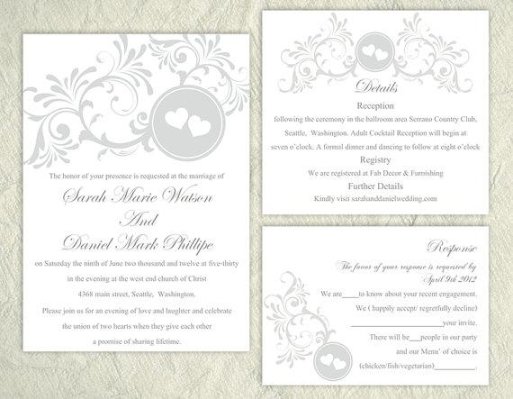 زفاف - DIY Wedding Invitation Template Set Editable Word File Instant Download Printable Silver Invitation Gray Wedding Invitation Heart Invitation