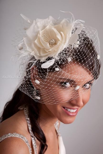Mariage - Bridal Birdcage Veil Wedge with Silk Flower, Fly-Away Netting and Rivoli Crystal Rhinestone Center