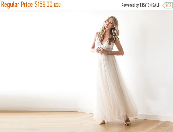 Wedding - Champagne tulle maxi dress,Fairy tulle maxi dress , Bridesmaids straps maxi gown