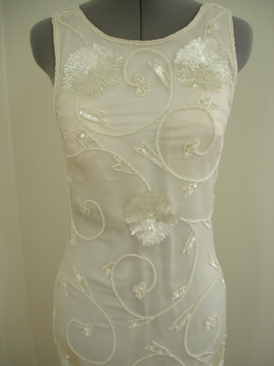 Свадьба - Pearl and Sequin Beaded off white Silk Evening/Wedding Event Gown