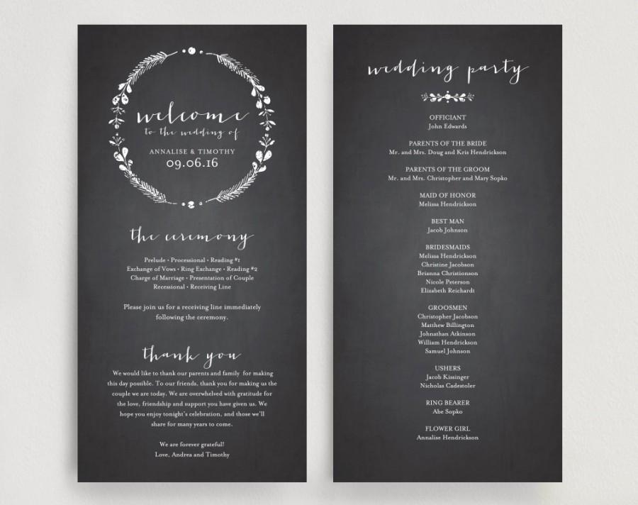 wedding program printable template printable program diy