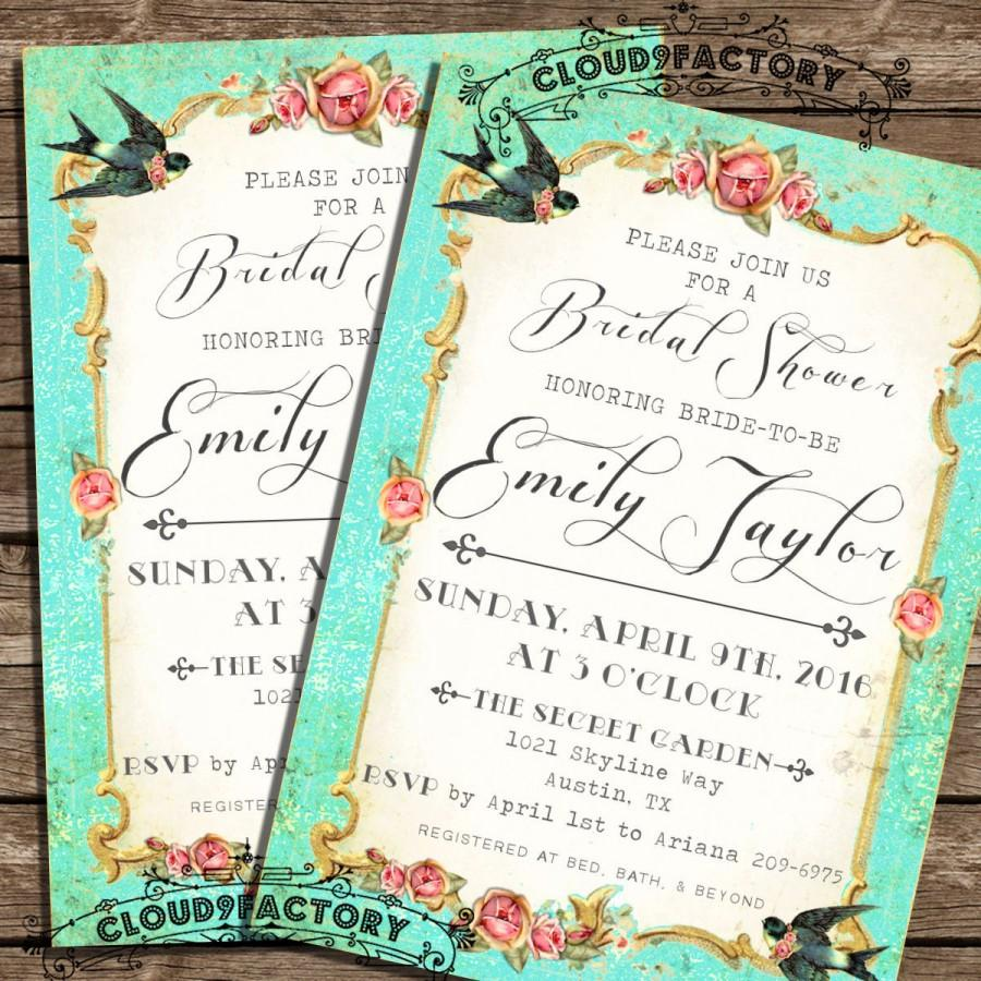 bridal shower invitations vintage style garden party bridal shower brunch luncheon bridal tea party love birds gold coral roses