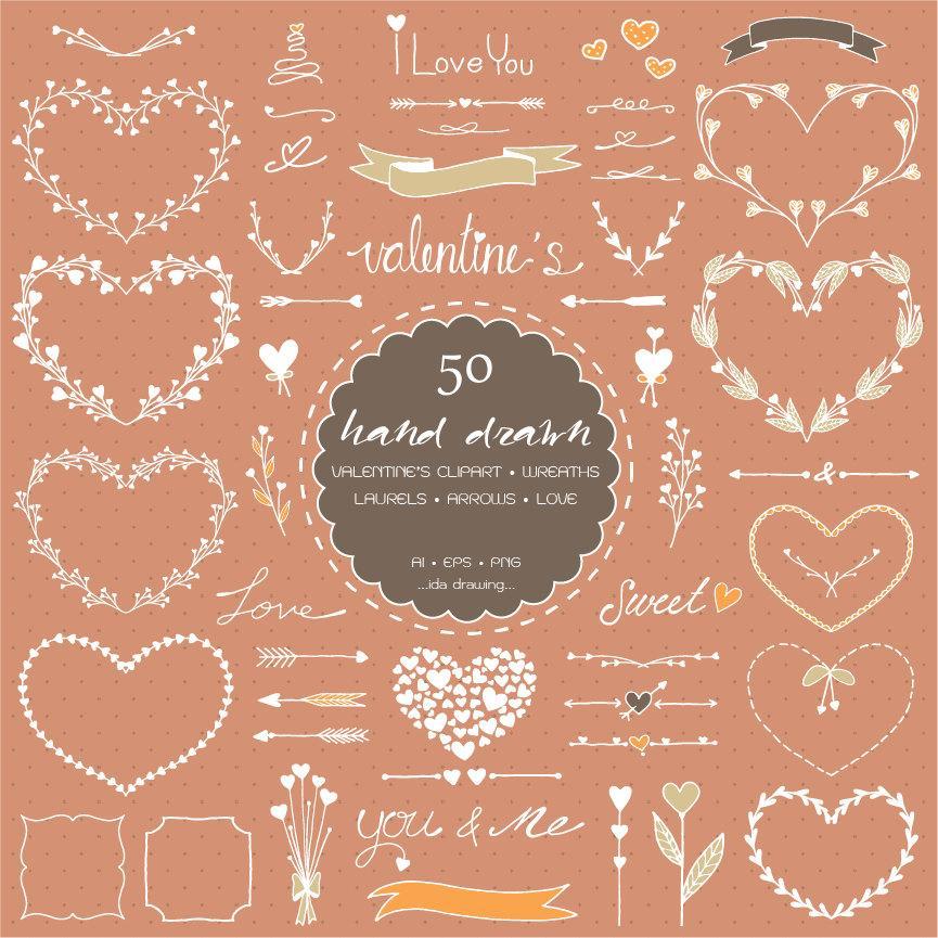 زفاف - 50 Hand Drawn Valentine's Day Digital Clipart - Valentine's Clipart - Wedding Floral - Heart Wreath - Chalkboard Wedding-Arrows-Laurels-Love