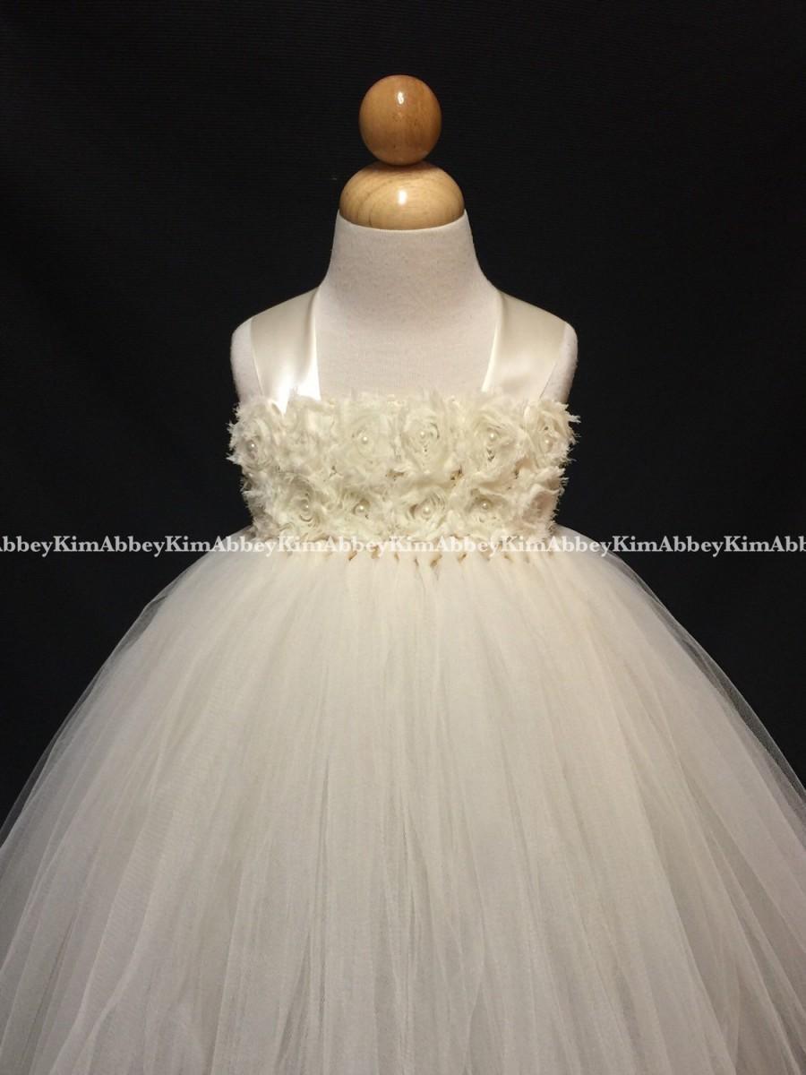 زفاف - Flower girl /princess tutu dress ivory shabby