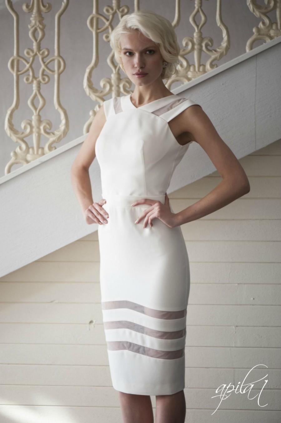 زفاف - Ivory Short Crepe Wedding Dress L4, Romantic wedding gown, Classic bridal dress, Custom dress, Rustic gown