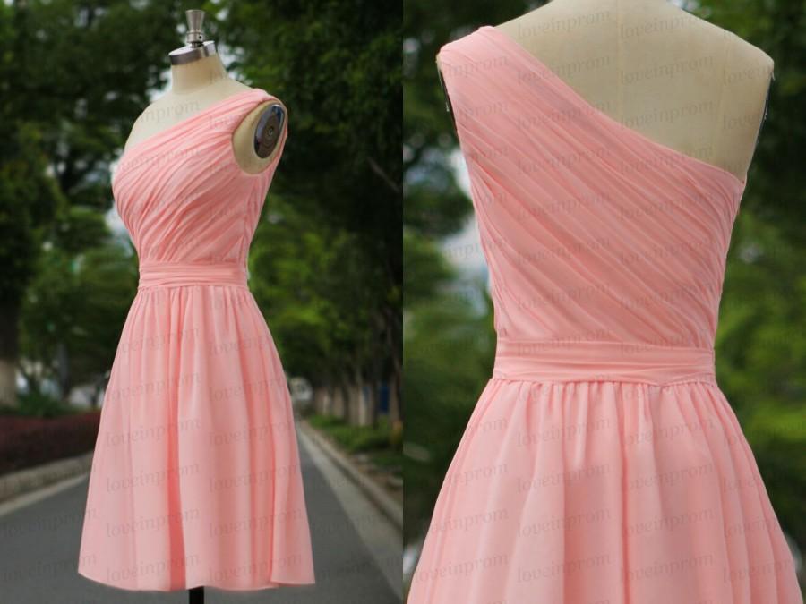 زفاف - Short pink bridesmaid dress,pink wedding party dress,handmade chiffon bridesmaid dress,one shoulder prom dress/party dress