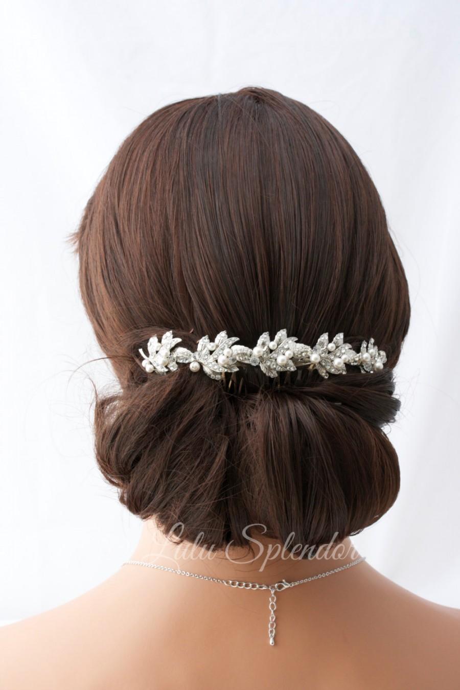 زفاف - Bridal Headpiece Rhinestone Hair Vine Bridal Hair Clip Swarovski Crystal Hairpiece Vintage Style  Back Hair Comb Wedding Headpiece  KAREN