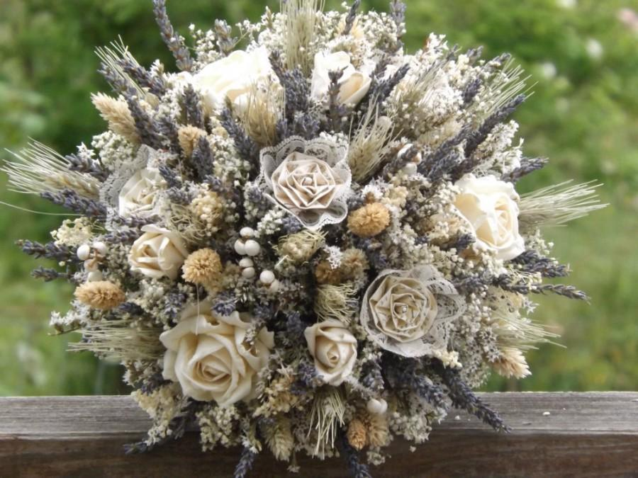 Свадьба - Dried Lavender, Dried Flower, Wheat, Rose, Paper and Lace Bride Bouquet  MADE TO ORDER