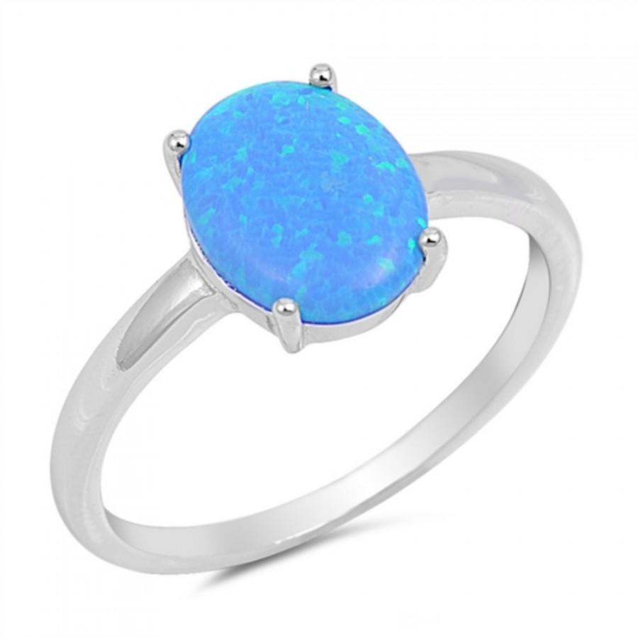 3 00ct oval cut blue opal ring 925 sterling silver lab
