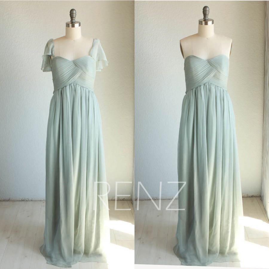 Mariage - 2015 Dusty Shale Bridesmaid dress, Removable Cap Sleeve Wedding dress, Chiffon Sweetheart Foraml dress floor length Empire Waist (B064)